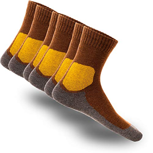 gipfelsport Wandersocken Adventure aus Merino Wolle - Socken für Outdoor, Trekking I 45-47 I Braun I 3X Paar
