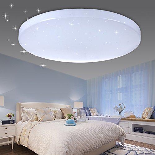 VINGO® LED Deckenleuchte Sternenhimmel Effekt 50W kaltweiß rund Φ450*95mm Wohnzimmer Flur Badlampe schöne Decken Beleuchtung