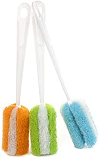 3PCS Long Handle Soft Sponge Cleaning Brush Cup Feeding Bottle Scrubber Cleaner Washing Brushes Kitchen Cleaning Brush for Coffee Glass Goblet Pot Milk Cup Mugs Baby Bottles Color Random