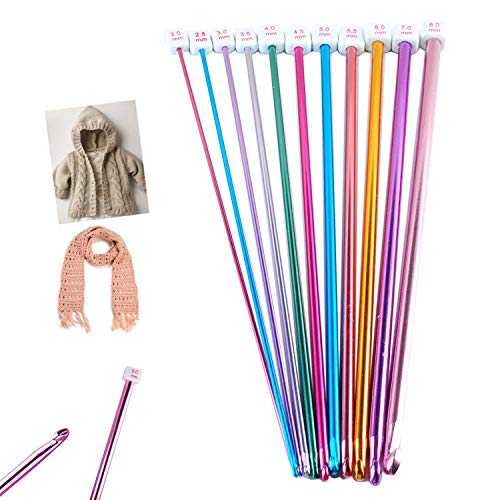 """Long Tunisian Afghan Crochet Hooks Set 11 Packs 10.6"""" Colorful Aluminum Knitting Needles(2mm to 8mm) by Wadoy"""