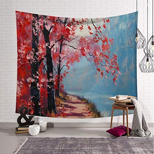 Paysage Arbres Tapisserie Tenture murale Tapisserie Tissu Décor Couverture Yoga Mural Plage Matelas De Couchage 150 * 200 Cm
