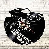 GYJCD Classic Vintage Retro Car con Road Mark Wall Art Reloj De Pared Deportes Automóvil Racecar Vinyl Record Reloj De Pared