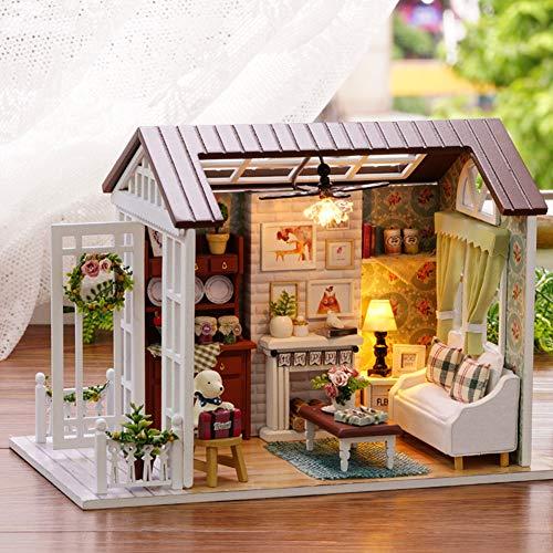 Miniatur Puppenhaus mit Licht Open Garden Modell Set Mini Holzhaus f/ür Erwachsene M/ädchen Wankd Puppenhaus DIY Haus Holz