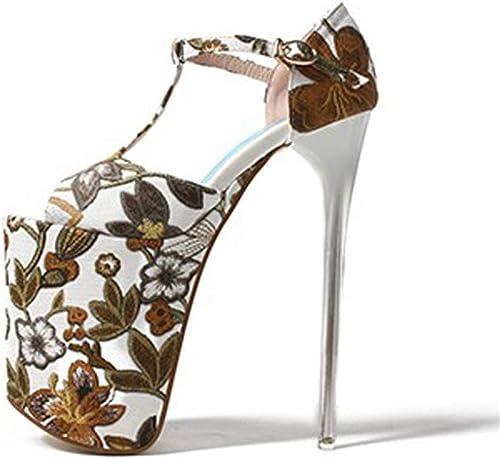 zapatos de Tacón para mujer,mujer Sandalias de Tacón con Tacón de Aguja plataforma Tacón Alto Correa del Tobillo Peep Toe Fiesta Sandalias,marrón,EU41 UK7.5
