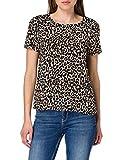 Vero Moda VMSIMPLY Easy SS Top WVN GA Camiseta, Oatmeal/AOP:Linea, M para Mujer