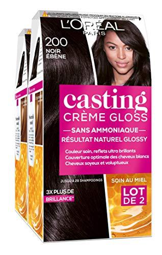 L'Oréal Paris Casting Crème Gloss Coloration Ton sur Ton pour Cheveux - Sans Ammoniaque - Noir Ebène (200), lot de 2