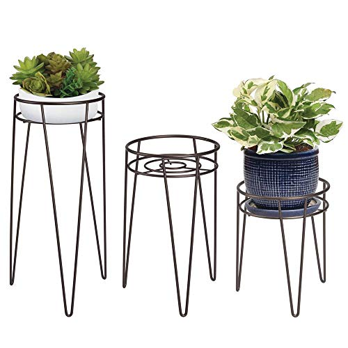 mDesign Midcentury Modern Flower Pot Stand - Metal Succulent and Plant Pot Holder - Minimalist Outdoor & Indoor Plant Holder - Hairpin Legs - Sturdy - Bronze