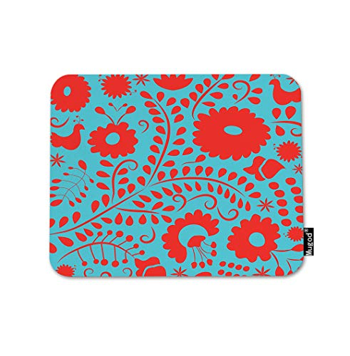 Mugod Mexican Pattern Mouse Pad Abstract Flower Floral Leaves Red Gaming Mouse Mat Non-Slip Rubber Base Mousepad for Computer Laptop PC Desk Office&Home Working 9.5x7.9 Inch