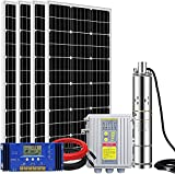 ECO-WORTHY 24V 400W Submersible Solar Water Well Pump Kit, 3'' Solar Water Pump, 60A Controller and 16ft Cable for Irrigation Water Supply, Circulation, Garden