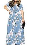 POSESHE Women's Solid V-Neck Short Sleeve Plus Size Evening Party Maxi Dress (Large, Flower Light Blue)
