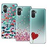 Young & Min Compatible con Funda Xiaomi Redmi Note 10S/Redmi Note 10 4G, (3 Pack) Transparente TPU Carcasa Delgado Anti-Choques con Dibujo de Corazón