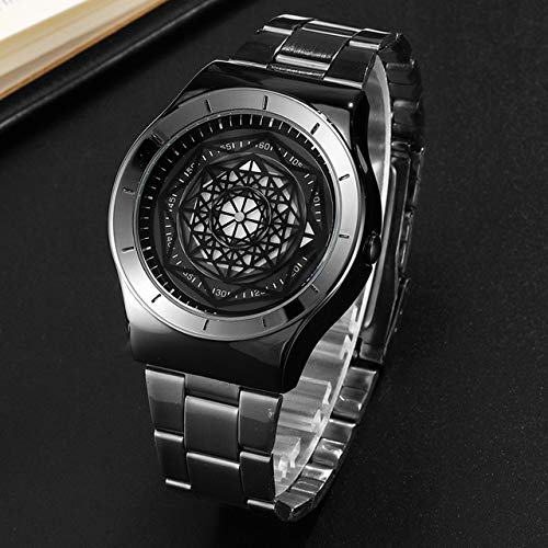 DFGHU Reloj Relojes Hombres Minimalista Auto Turbine Turntable Dial Dial Reloj De Cuarzo Reloj Creative Dial Hombre Reloj De Pulsera De AceroGeek Relojes