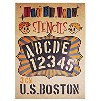 ステンシルシート アルファベット大文字&数字セット U.S.BOSTON (3cm)