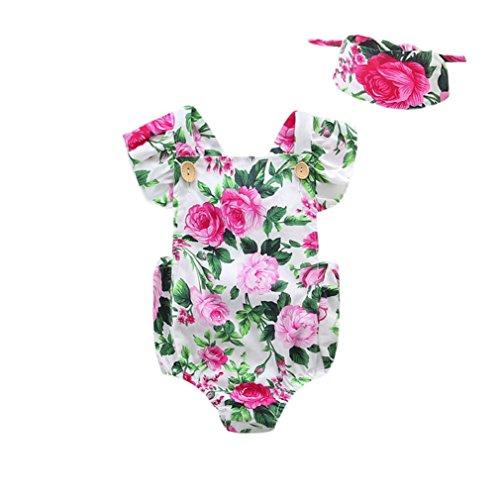 SAMGU Nouveau-né Infant Enfants Bébés Fleurs Imprimer Jumpsuit Rompers avec Bandeau Tenues Vêtements Combinaison Vert