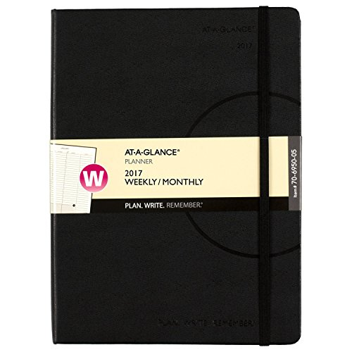"""At-A-Glance Weekly/Monthly Appointment Book/Planner 2017, 7.37 x 9.75"""", Black (70695005-17)"""