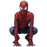 QWEASZER Traje clásico de Peter Parker Traje de hombre araña Traje de Spiderman Cosplay zentai Disfraz Halloween Disfraces Fiesta de disfraces Disfraces de disfraces,Red-140~160cm