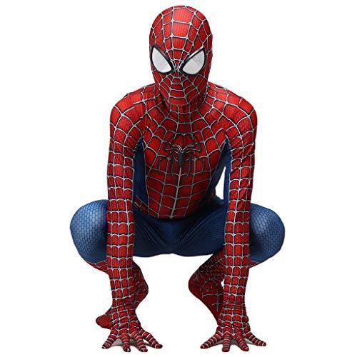 QWEASZER Classico Peter Parker Spider-man costume Spiderman costume Cosplay zentai Costume adulto Halloween Fancy Dress Party movie Costume Puntelli,Red-130~145cm