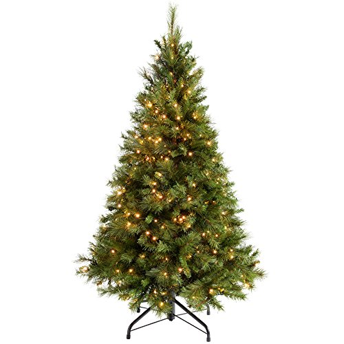 WeRChristmas Pre-Lit Victorian Pine Multi-Function Christmas Tree with 300 Warm White LED Lights, Green, 5 feet/1.5 m