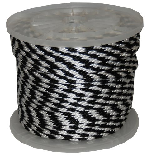 T.w. Evans Cordage 98323 3/20,3 cm par 300-feet solide Braid propylène multifil Derby Corde, Noir et Blanc