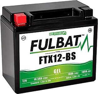 Fulbat - Batería Moto Gel YTX12-BS / FTX12-BS 12V 10Ah