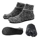 AIYUE Calcetines antideslizantes de algodón al tobillo con suela impermeable de goma, ideal como regalo Negro grueso. XL