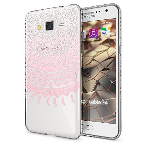 NALIA Funda Carcasa Compatible con Samsung Galaxy Grand Prime, Motivo Design Movil Protectora Fina Carcasa Silicona Cubierta, Goma Estuche Telefono Bumper Cover Case, Designs:Mandala Pink Rosa