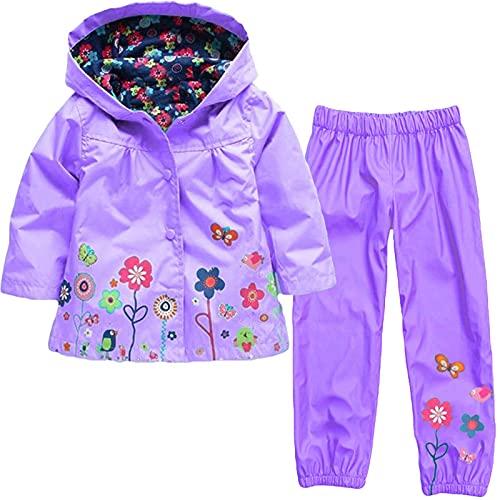 YQSR Chaqueta impermeable con capucha para niño o niña, abrigos impermeables para la playa, para senderismo, senderismo, impermeable, 2 piezas