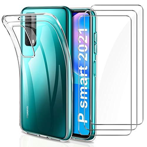 YNMEacc Cover per Huawei P Smart 2021 Custodia + 3 Pezzi Pellicola Protettiva in Vetro Temperato, Ultra Sottile in Silicone Morbido Trasparente Gel Cover
