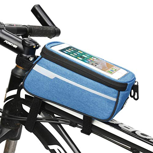 Bike Phone Front Frame Bag,Waterproof Bike Pouch Bag Bicycle Phone Holder 2.0L Large Capacity Storage Touchscreen with Headphone Hole for Any Smart Phone Below 6.0 Inch