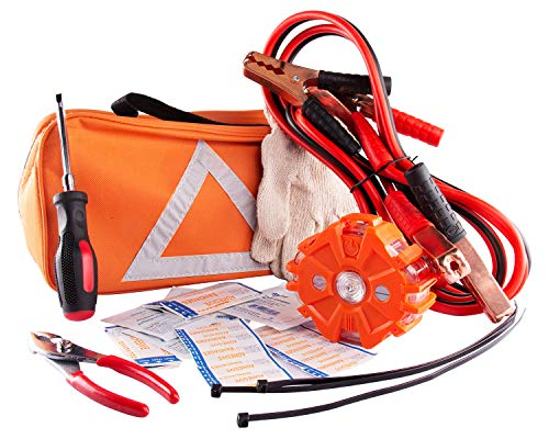 Car Safety Kit, NoOne Multi functional Roadside Assistance Emergency Kits- First Aid Kit, Jumper Cables, LED Warning Light, Orange Strong Bag, Work Gloves, Tools