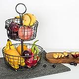 El Tazón Metálico de fruta negro de 2 capas, la Canasta Circular de Alambre de Kealive innovadora y elegante, servible como canasta almacenamiento, la de pan y la de frutas para la sala de estar