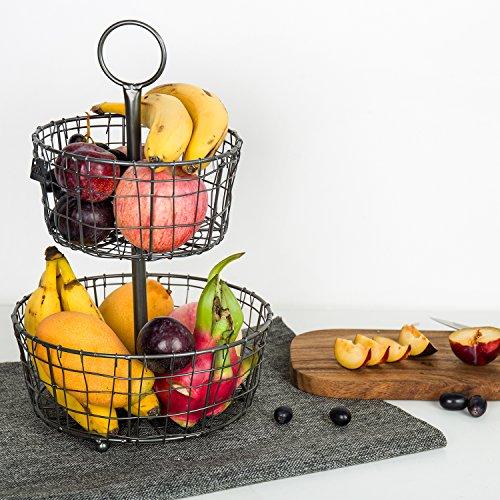 2 Tier Black Metal portafrutta, innovativo ed elegante Kealive cestello circolare può essere utilizzato come cestino di immagazzinaggio, cesto di pane e cesto di frutta per il salone