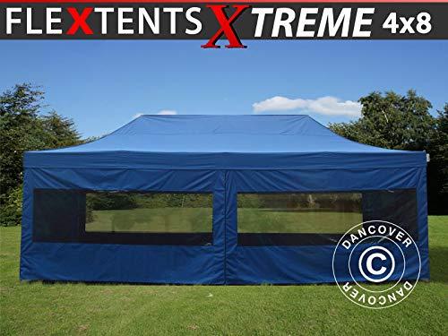 Dancover Faltzelt Faltpavillon Wasserdicht FleXtents Xtreme 50 4x8m Blau, mit 6 Seitenwänden