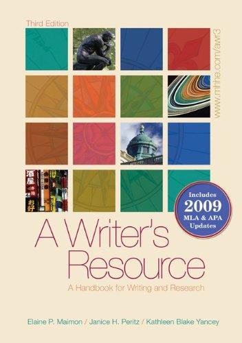 A Writer's Resource (spiral-bound) 2009 APA & MLA Update,...