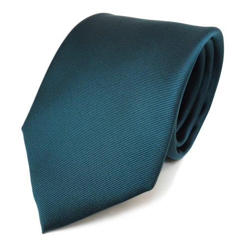 schöne TigerTie Krawatte in petrol grün dunkles türkis uni fein Rips Polyester