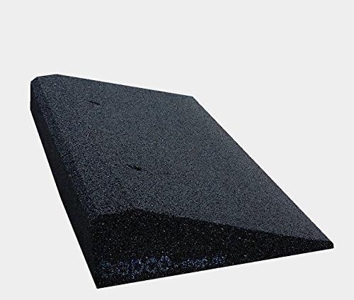 bepco Bordsteinkanten-Rampe-Set (2 Stück) 50-100 mm aus Gummifasern (schwarz) - Auffahrrampe - Türschwellenrampe mit eingelagerten Unterlegscheiben zur Befestigung (50 x 25 x 10 cm)