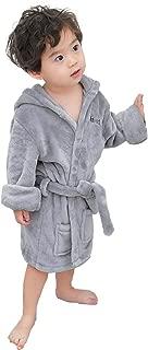 Toddler Boys Girls Bathrobes White - Unisex Hooded Fleece Sleep Robe and Towel Cotton Pajamas for Kids 2 3 4 5 6 T