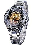 Winner Reloj de pulsera deportivo automático de acero inoxidable para hombre, movimiento dorado