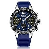 MEGIR Sport Watches for Men Fashion Casual Dress Chronograph Outdoor Waterproof Military Quartz Wristwatches Calendar Display Comfort Silicone Strap – Blue