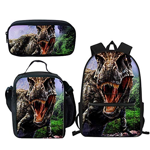 Cool Dinosaur Backpack Sets with School Book Bags Lunch Box and Pencil Case, 3 Piece, Best Gift for Kids Boys Girls Back to School