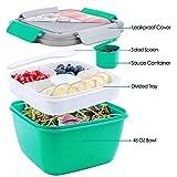 1300 ml Salatbehälter Lunch-Behälter Bento to Go für Mittagessen, BPA-frei, FDA-Passiert, 3 Fächer für Salatbesteck und Snacks, Salatschüssel mit Dressingbehälter, auslaufsicher,...