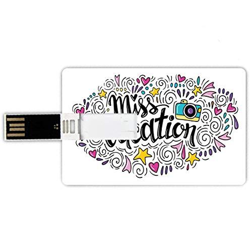USB-Sticks 64GB Kreditkartenform Zitat Memory Stick-Bankkartenstil Fröhliche Komposition Fräulein Urlaub Worte Reisen Thema Doodle Ornament Retro-Kamera,Multicolor, Wasserdichte stift daumen schöne ju