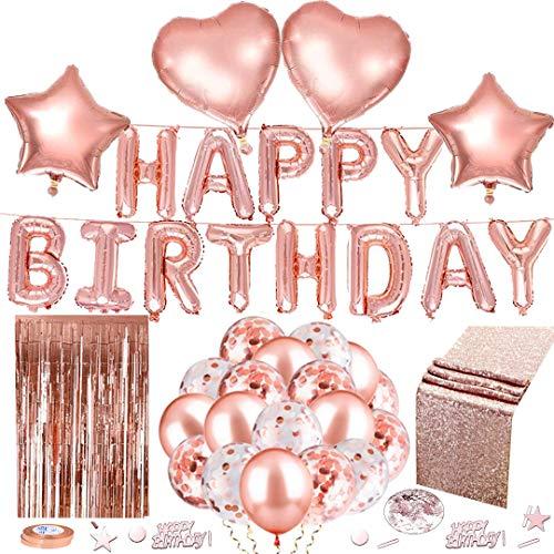 Decoración de cumpleaños de oro rosa, decoración de cumpleaños con pancarta de 'Happy Birthday', 30 unidades, globos, camino de mesa de purpurina, cortina de confeti, corazón, estrella, globo