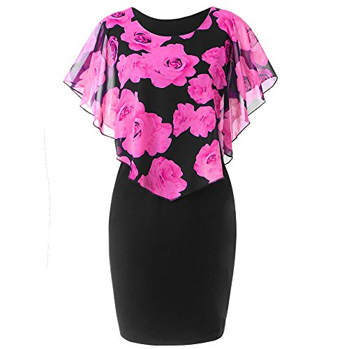 TWGONE Ruffle Dresses For Women Plus Size Summer Rose Print Chiffon Scoop Neck Mini Dress(XX-Large,Hot Pink)