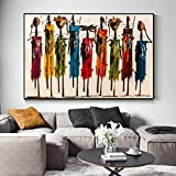 NOBRAND Mujer Africana Abstracta Pinturas Al Óleo sobre Lienzo Carteles E Impresiones Arte De La Pared Retrato Imágenes Decoración De La Sala Sin Marco