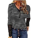 Blusa para mujer, blusa elegante, corte de leopardo, manga larga con botones, camiseta larga, informal, holgada, para primavera y otoño, talla grande, A-negro., XL
