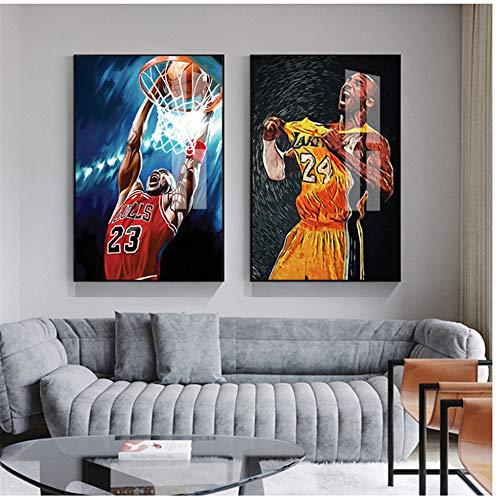 HSFFBHFBH Quadro su Tela Stampa Arte della Parete Giocatore di Basket Bello idolo Poster Moderno Semplice Soggiorno Decorazione della casa Pittura 50x70 cm (19,7'x27,6) x2 Senza Cornice