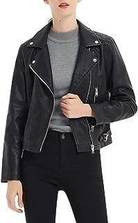 PU Leather Jacket, Women's Zip Up Faux Warm Short Moto Biker Outwear Fitted Jacket Coat