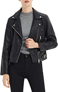 CGTL PU Leather Jacket, Women's Zip Up Faux Moto Biker Vegan Outwear Jacket Coat