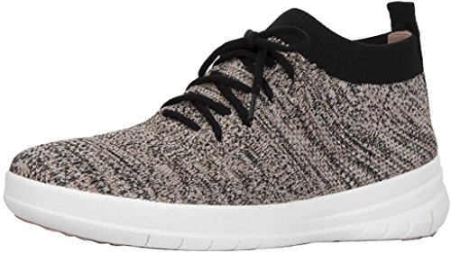 FitFlop Womens Uberknit Slip On High Top Sneakers, Black/Nude Metallic, US 8